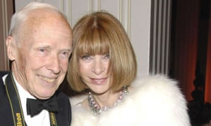 Bill Cunningham receiving the Carnegie Hall Medal of Excellence in 2012, pictured with Anna Wintour, the editor-in-chief of American Vogue.