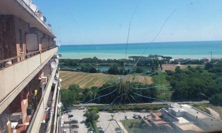 The Mediterranean seen from Hotel House tower block in Porto Recanati, Italy