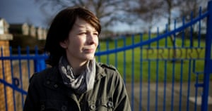 Jenn Ashworth outside her former school in Penwortham, Lancashire.