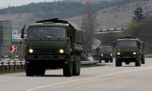A Russian convoy in March 2014 moves towards Simferopol, Crimea, a day after Russia's forces took over the peninsula.