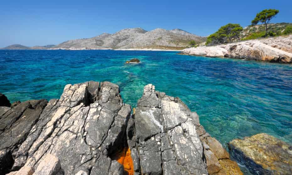 The rocky coast and clear sea of Lastovo.