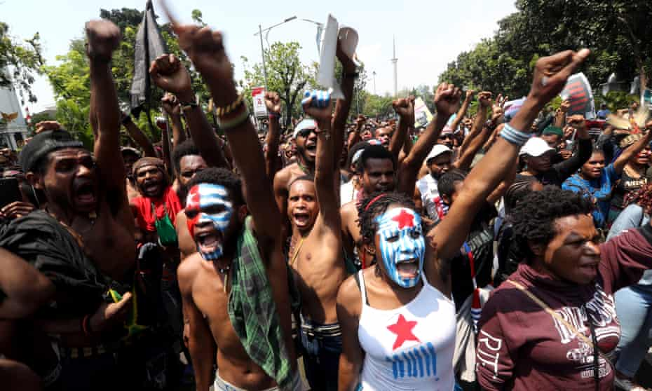 Papuan activists shout slogans at a rally in Jakarta