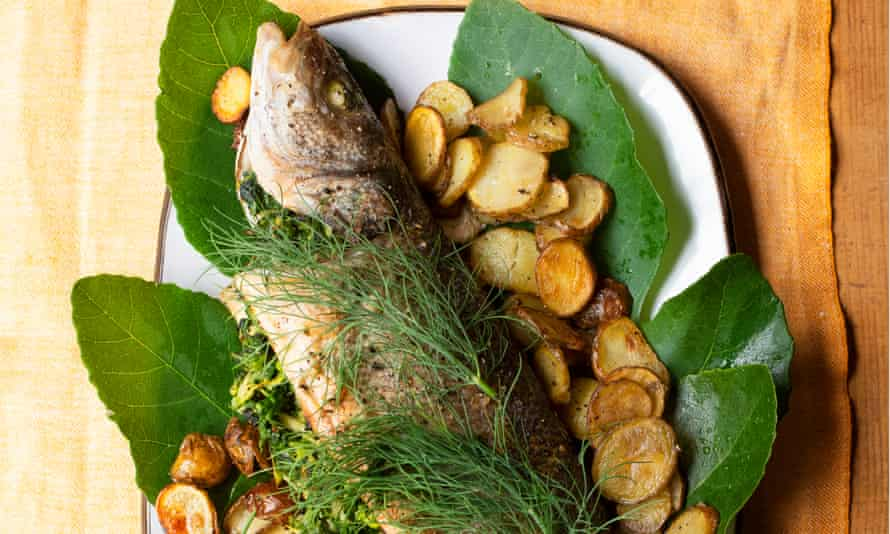 Baked sea bass, courgette and spinach stuffing.