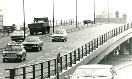 Traffic on the Belgrave flyover in Leicester from The Story of Leicester website - awaiting permission for use