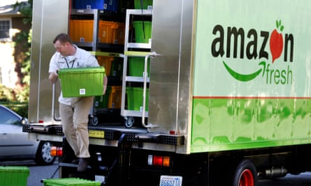 An Amazon Fresh order is delivered in Mercer Island, Washington, in the early days of the service in the United States.