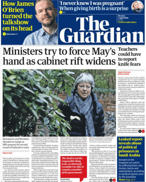 Guardian front page, Monday 1 April 2019
