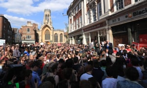 Jeremy Corbyn makes a campaign speech in front of a large crowd in St Helen's Square, York.