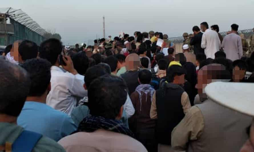 Crowd outside Kabul airport