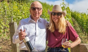 Rupert Murdoch and his wife, Jerry Hall, amid the vines of Moraga vineyard, California.