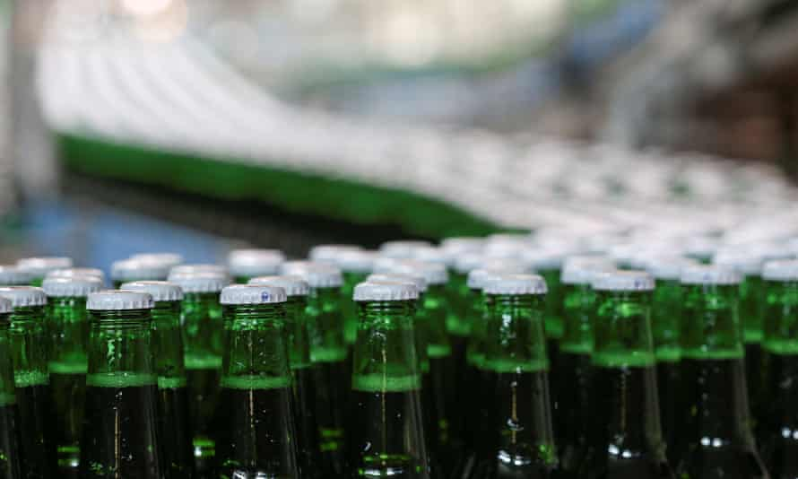 Beer bottles on a production line