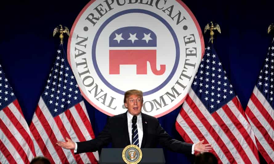 President Donald Trump addressing the Republican National Committee's winter meeting.