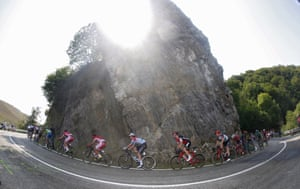 The pack of riders in action during the 19th stage, a 149.7km trek from Caso to Gijon, in Asturias, northern Spain