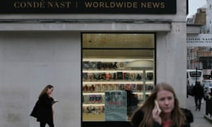 Magazines in the window of Condé Nast Britain's Vogue House in Hanover Square, central  London.