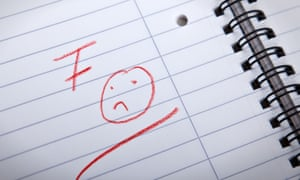 F grade and a sad smily