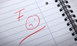 F grade and a sad smilie, written in red letters in a spiral pad.