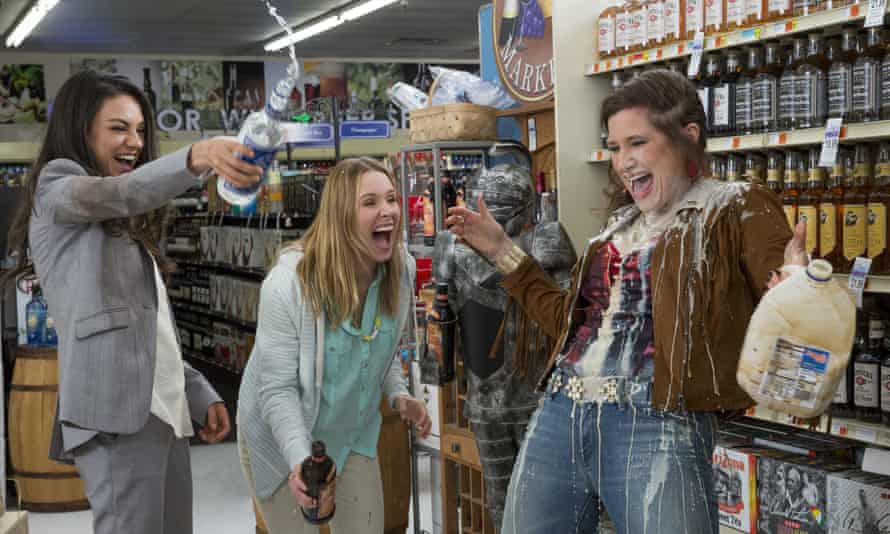 Occasional snickers … from left, Mila Kunis, Kristen Bell and Kathryn Hahn.