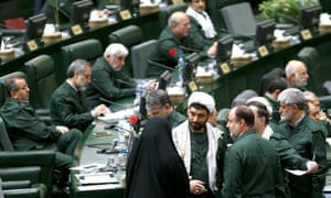 Iranian MPs wearing the outfit of the Revolutionary Guards at the Consultative Assembly in Tehran