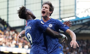 Marcos Alonso celebrates with Tammy Abraham after scoring the only goal against Newcastle.