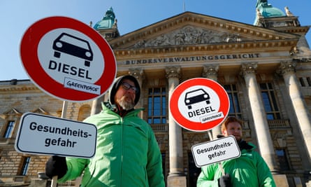 Greenpeace activists outside court in Leipzig