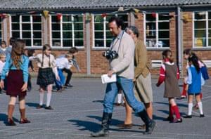 Peter Hall in the schoolyard