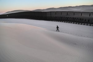 A border patrol agent on duty at the Imperial Sand Dunes