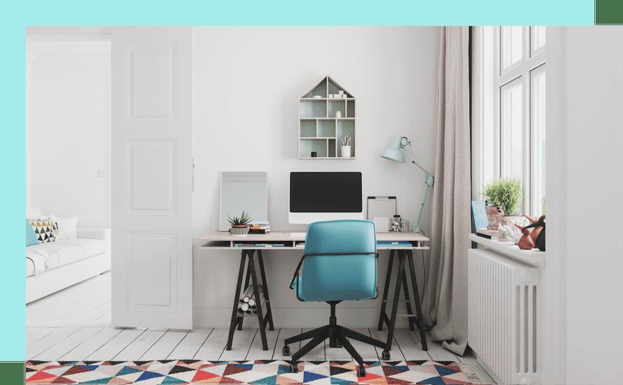 Tidy desk in bright room