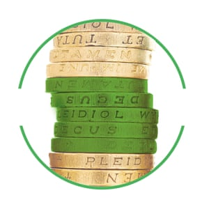 Pound coins cut-out inside green-rimmed circle