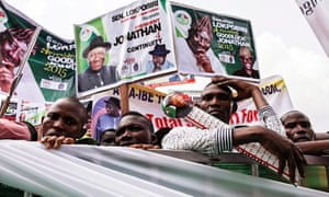 Supporters of the Nigerian president, Goodluck Jonathan, at a rally in Yenagoa, Nigeria.