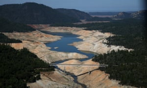 A section of Lake Oroville is seen nearly dry in August 2014 in Oroville, California.