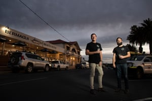 Owners of the Bermagui Beach Hotel on the NSW South Coast Luke Redmond (left) and Yannis Gantner in the electorate of Eden Monaro.
