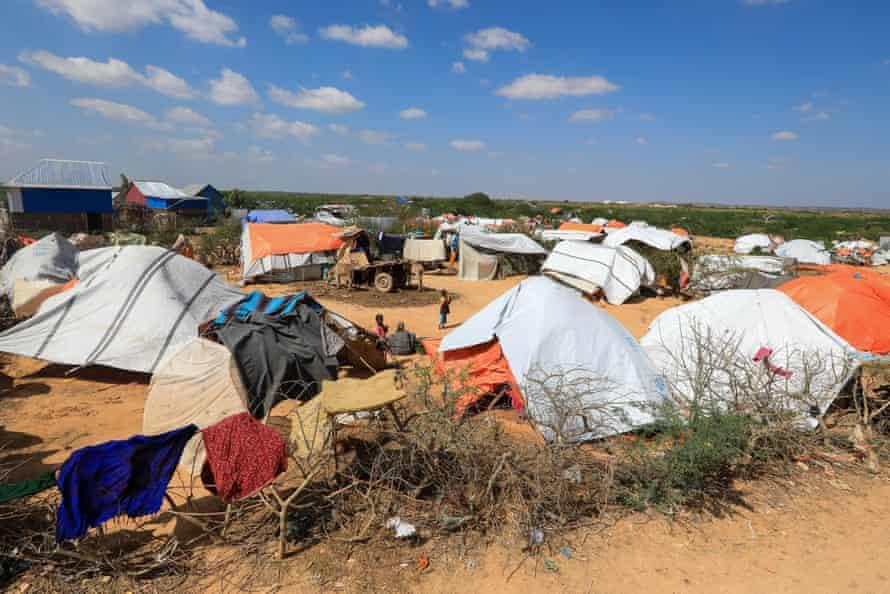 Makeshift tents at a camp