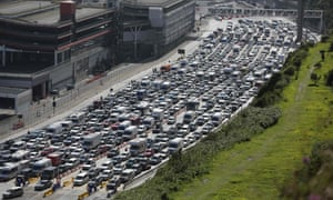 The great escape … traffic queues at the port of Dover earlier this week.