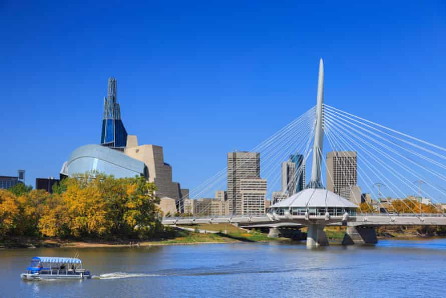 Winnipeg skyline with Canadian Museum for Human Rights and Esplanade Riel Bridge