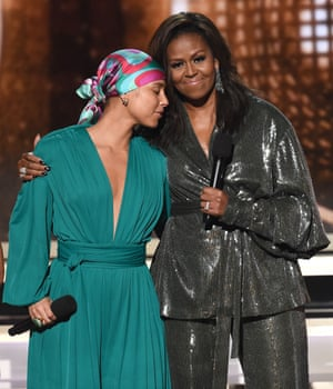 Alicia Keys and Michelle Obama on stage