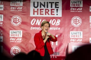 Warren speaks at a Culinary Workers Union Local 226 meeting hosted by Unite Here on Monday in Las Vegas