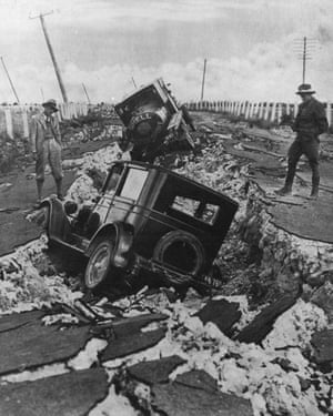 Vehicles lie damaged after the Hawke's Bay earthquake
