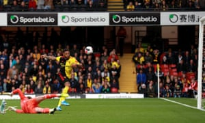Watford's Andre Gray misses a chance from close range.