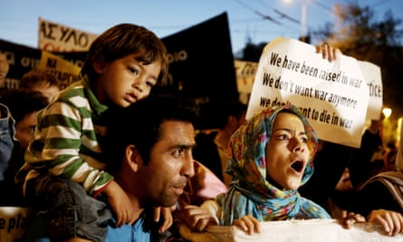 Refugees protest in Athens this week over the EU deal which entails Turkey taking back migrants from Greece.