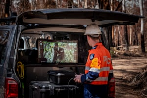 A member of the Victorian police drone unit inspects an image. The drones were used for visual searching and assessment of the koalas to determine if further healthcare was required.