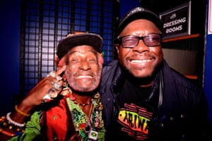 Lee 'Scratch' Perry and Dub engineer Mad Professor at Perry's 80th birthday celebration, Live at the Electric, Brixton, south London.