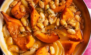 The future is orange: pumpkin, butter beans and thyme.