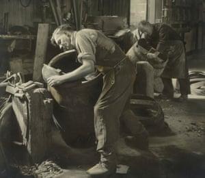 A cooperage of whisky barrels, Speyside, c. 1930