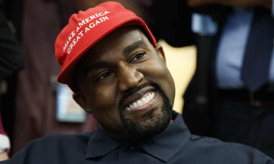 Kanye West smiles during a meeting in the Oval Office with Donald Trump, 11 October 2018.