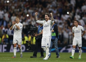Sergio Ramos celebrates at the end of the match.