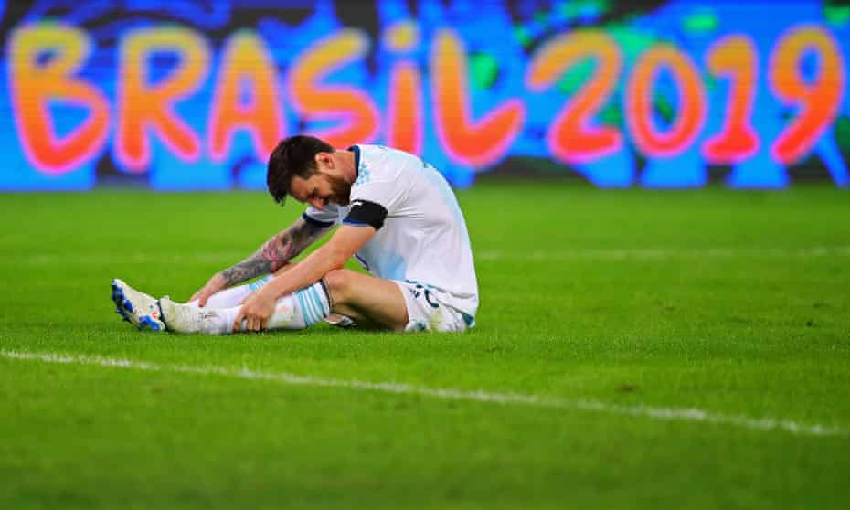 Lionel Messi looks pained during Argentina's Copa América draw against Paraguay, which followed a defeat by Colombia.