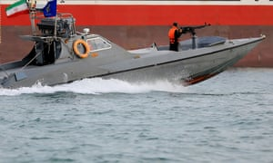 Iranian Revolutionary Guards in a speedboat alongside the British-flagged oil tanker Stena Impero, which was seized in the strait of Hormuz in July