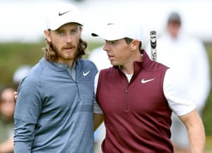 Tommy Fleetwood and Rory McIlroy share a moment on the second practice day for the Open Championship at Carnoustie.