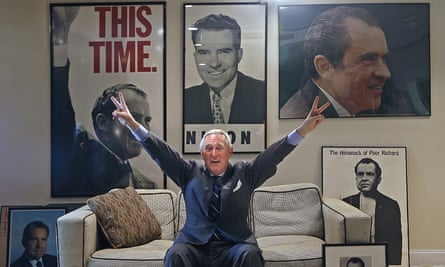 Roger Stone, pictured at his office in Florida, claimed that his source has met with Julian Assange and is a mutual friend.