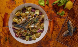 Barbecued mackerel fillets with lemon, black pepper, beetroot, horseradish, chives and warm new potatoes.