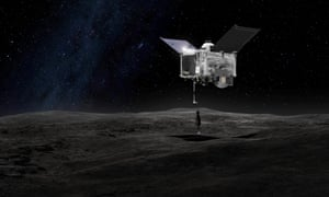 This artist's rendering of the Osiris-Rex spacecraft making contact with the asteroid Bennu.